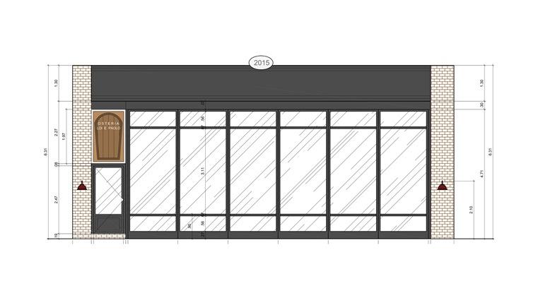Fachada da Osteria: um dos desenhos preliminares (Arquitetura: Octávio de Santis)