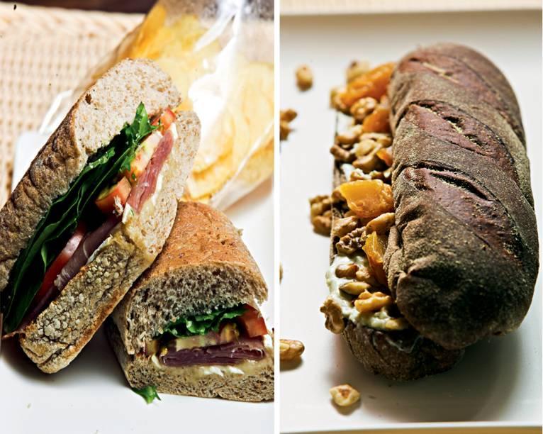 Sanduíches caprichados: de presunto cru na ciabatta integral e com recheio de pera, nozes e gorgonzola