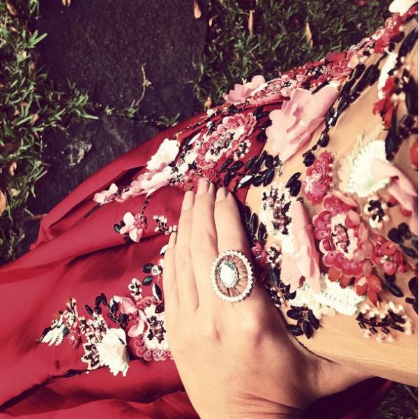 Detaklhe dos bordados: seda, organza e cristais (Foto: Reprodução/Instagram)