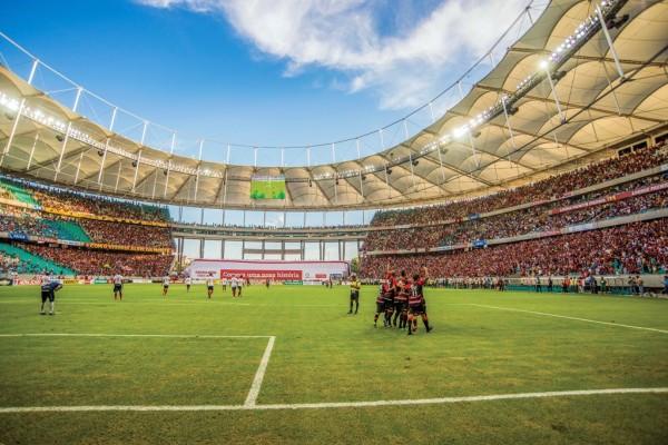Ba-Vi na inauguração da Arena Fonte Nova, em 2013: Vitória fez a festa com o 5 x 1 (Foto: André Fofano)