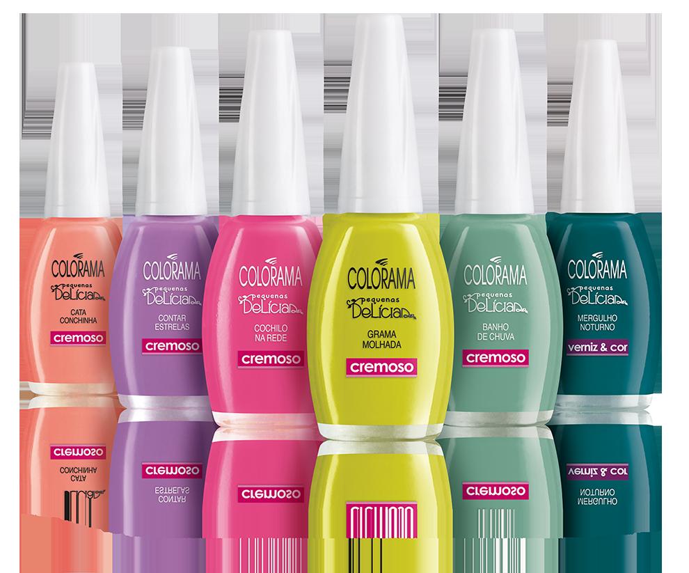 A Colorama apresenta sua coleção de verão intitulada 'Pequenas Delícias'. Com cinco cores cremosas e uma com brilho verniz. Preço sugerido: R$ 3,99