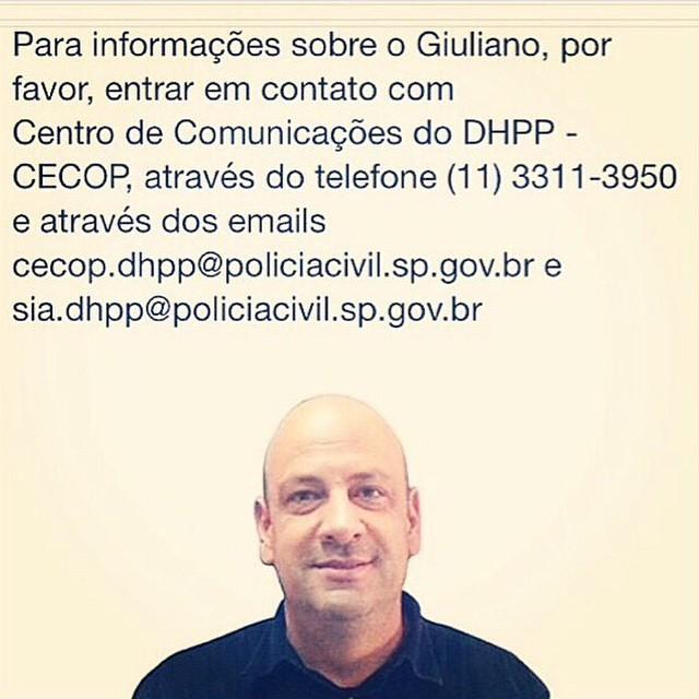 """A mensagem que Marco Pigossi deixou no Instagram: """"Por favor, precisamos encontrar nosso amigo Giuliano. Ele desapareceu enquanto viajava com seu carro Honda CR-V preta, placa EMO 9888 na Via Presidente Dutra em Outubro"""""""