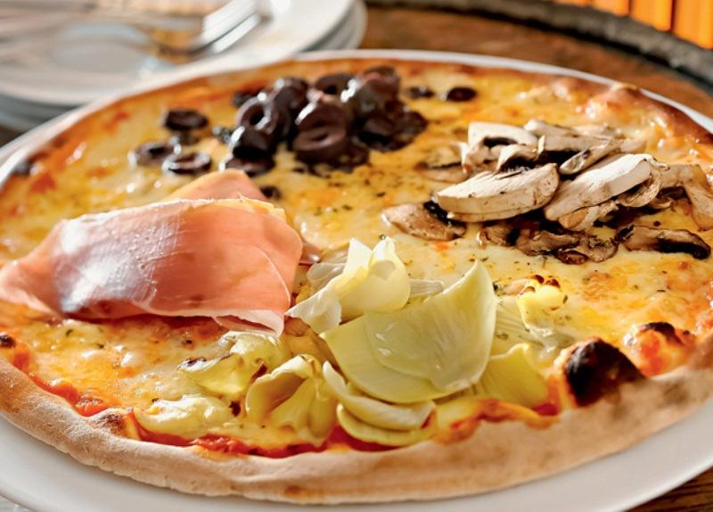 A quatro stagione da 68 La Pizzeria: a pedida combina mussarela, alcachofra, presunto de Parma e cogumelo-de-paris e molho de tomate feito com cachaça