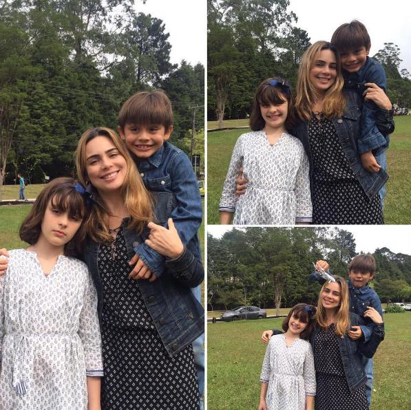 A jornalista com os filhos