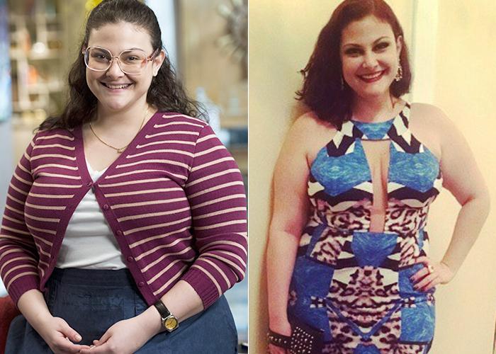Na esquerda, quando interpretava 'Bia', na novela 'Alto Astral'. Hoje, a atriz exibe corpo mais magra e está com os cabelos mais curtos. (Foto: Globo/Instagram)