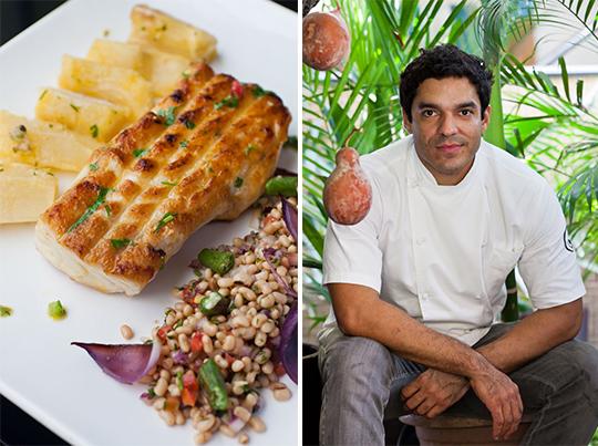 Filhote assado do restaurante Remanso do Bosque e o chef da casa, Thiago Castanho (Fotos: Romero Cruz)