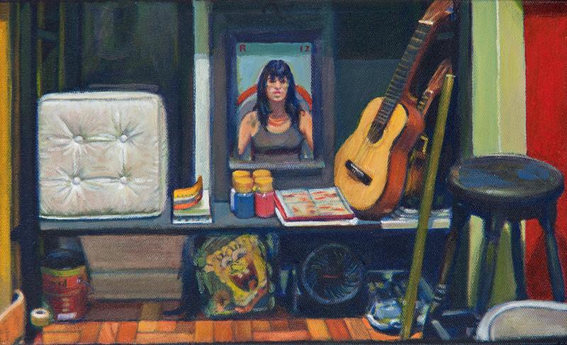 em>Ateliezinho</em>, acrílica de Rodrigo Cunha: a tela do artista fluminense custa R$ 3.900,00 na Galeria André