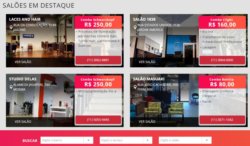 Exemplo de combos vendidos no site do evento: parceiros dão nomes aos pacotes de serviços (Foto: Reprodução)