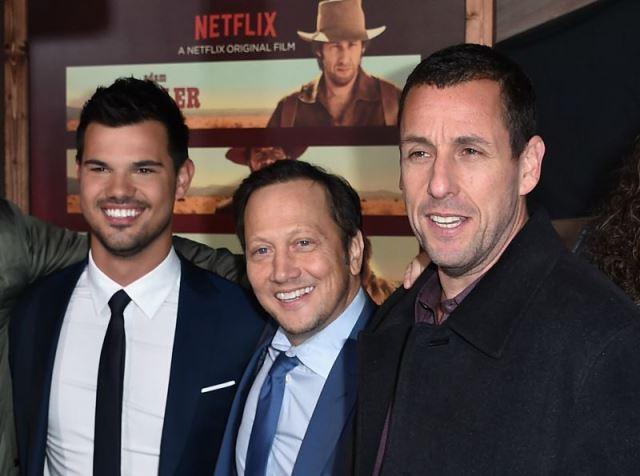 Taylor Lautner, Rob Schneider e Adam Sandler na pré-estreia de The Ridiculous 6