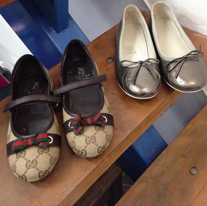 Sapatilhas Gucci usadas uma vez, R$ 420,00 cada. (Foto: reprodução/Instagram)
