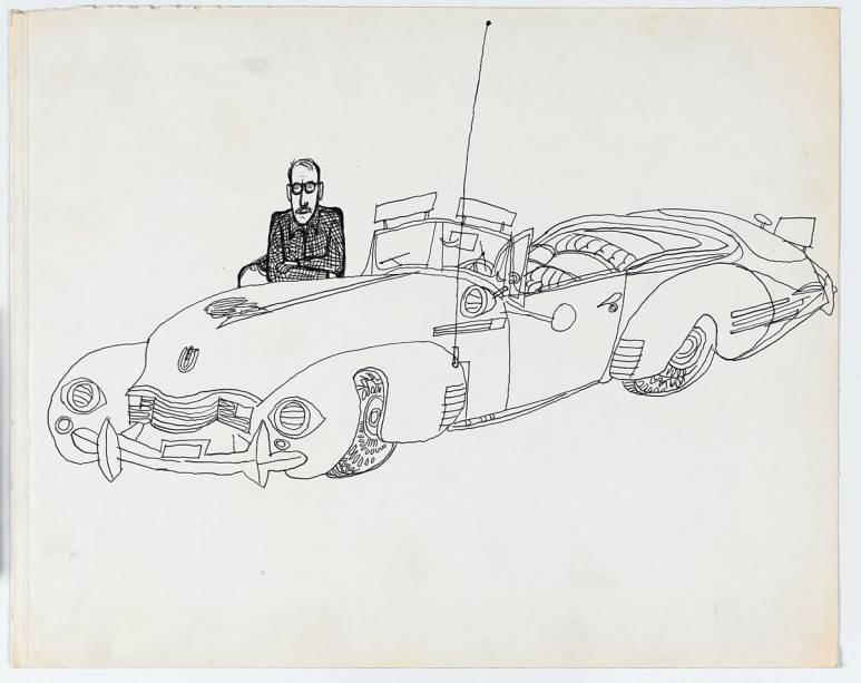 Autorretrato assinado por Saul Steinberg em 1947