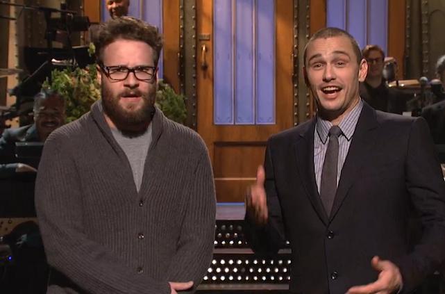 Os atores foram ao programa Saturday Night Live para falar do ataque dos hackers