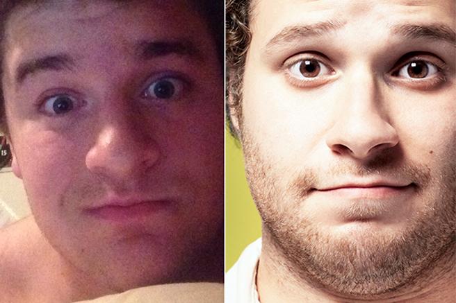 O nariz é idêntico e, no escuro, ninguém diria que o cara da esquerda não é Seth Rogen