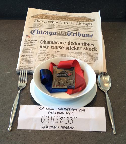 Chester publicou uma foto com seu melhor tempo na prova de Chicago