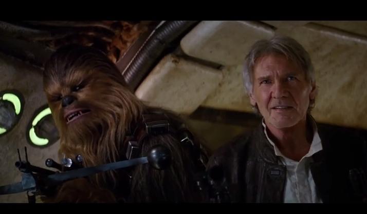 Chewbacca e Harrison Ford no trailer do novo Star Wars