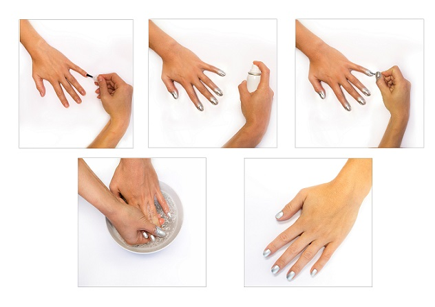 O passo a passo para aplicar o esmalte em spray (Foto: Divulgação/Nails Inc)