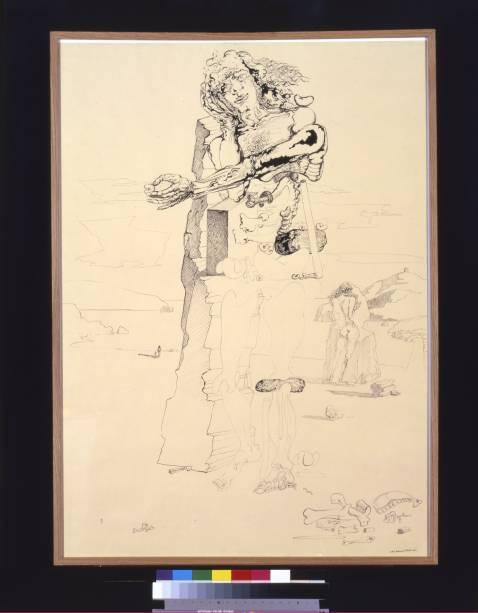 Surrealist figure in Landscape of Portlligat (1933)
