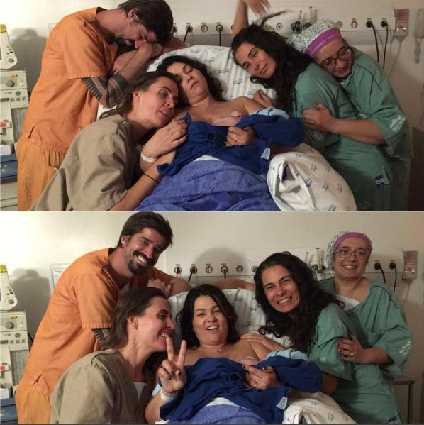 Suzana no hospital, com marido e filho: parto humanizado (Foto: Reprodução/Instagram)