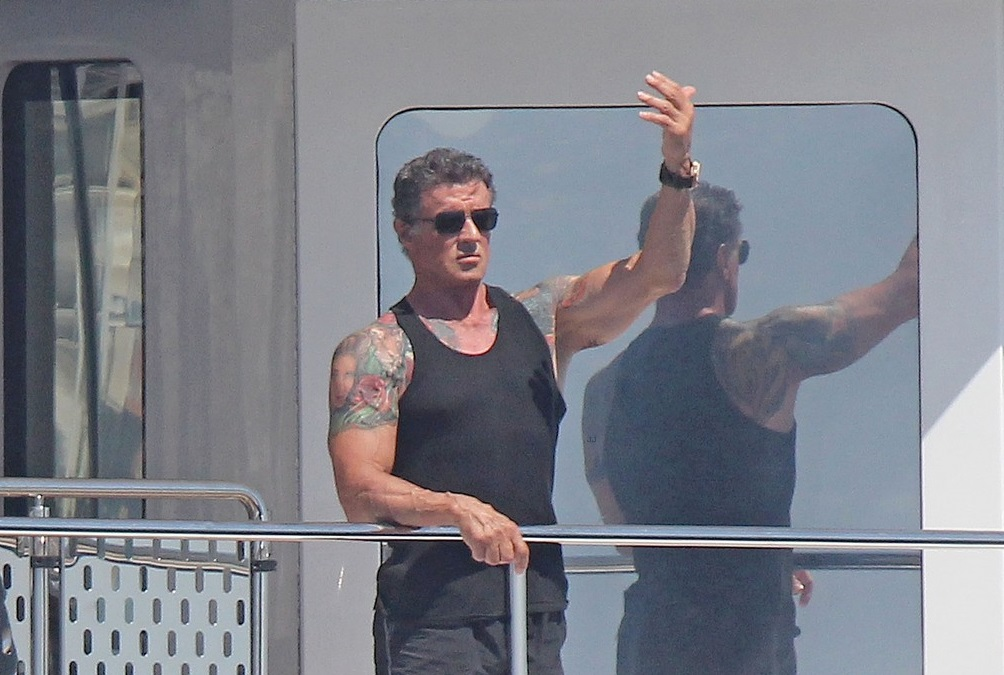 Stallone and his girls aboard a yacht