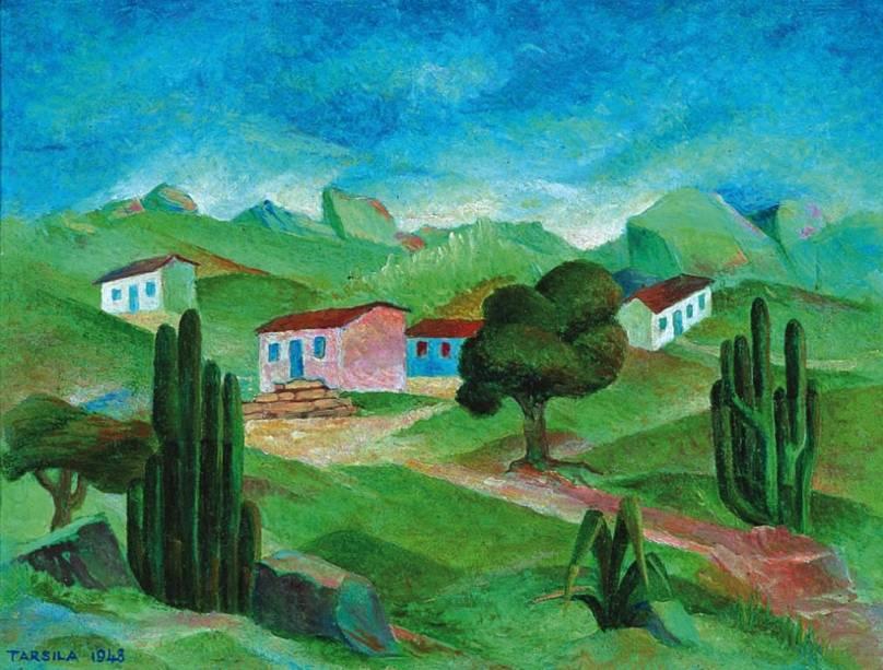 Paisagem, óleo pintado por Tarsila do Amaral em 1948, integra a mostra O Retorno da Coleção Tamagni