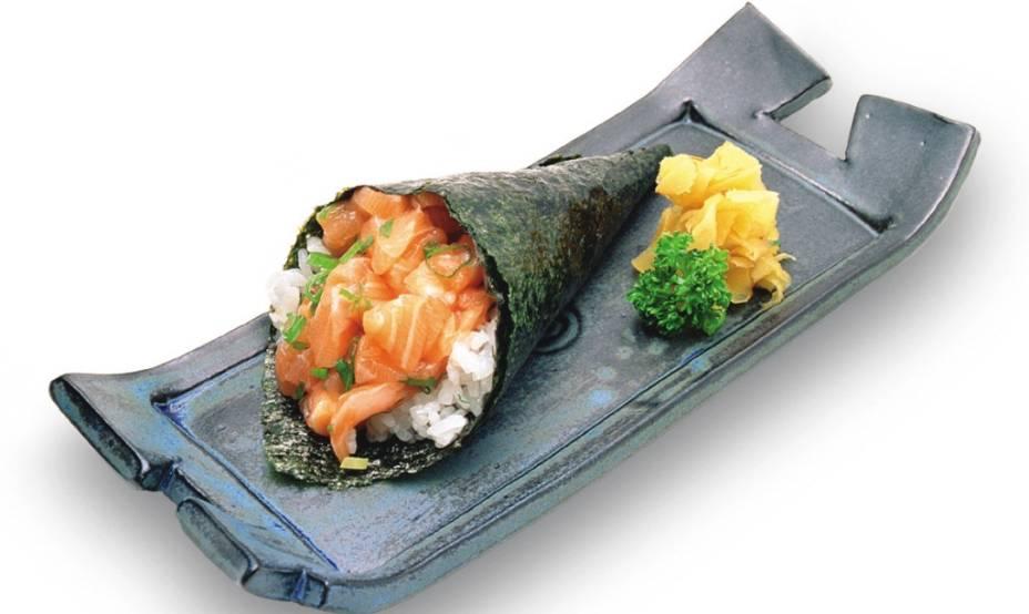 Temaki de salmão, do restaurante Gendai
