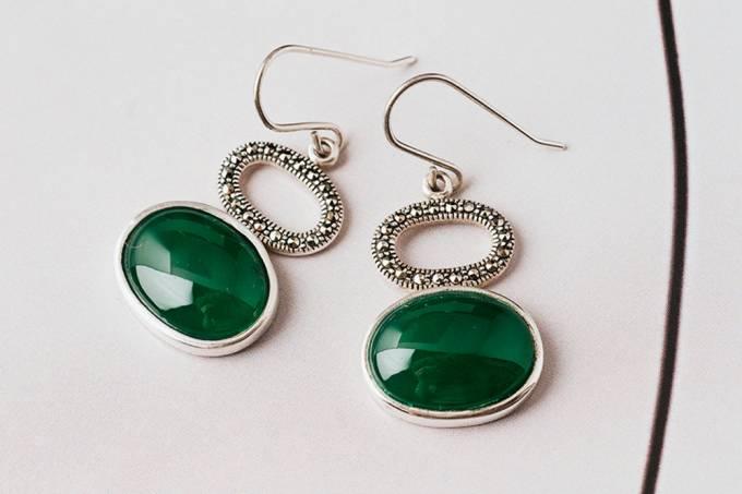 thaikesh brinco prata onix verde