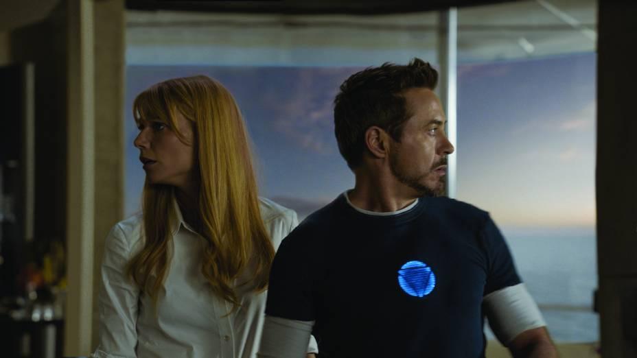 Homem de Ferro 3: Gwyneth Paltrow e Robert Downey Jr. estão na fita de ação