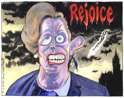Nesta caricatura, um híbrido de Thatcher e Tony Blair, primeiro-ministro britânico de 1997 a 2007.