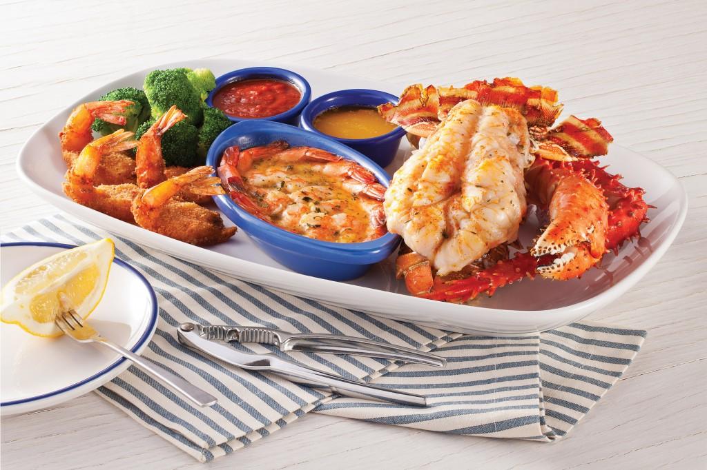 cauda de lagosta grelhada, patas de caranguejo do chile no vapor, combinados com camarão grelhado ao molho scampi e camarão empanado (Fotos: divulgação)