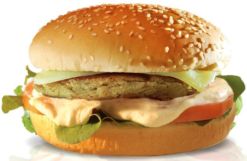 Hambúrguer vegetariano do Big X Picanha: pão de hambúrguer, queijo mussarela, cream cheese, tomate e rúcula