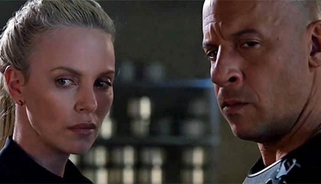 Charlize Theron e Vin Diesel em 'Velozes e Furiosos 8'