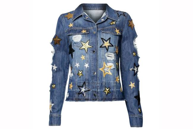jaqueta jeans estrelas metalizadas
