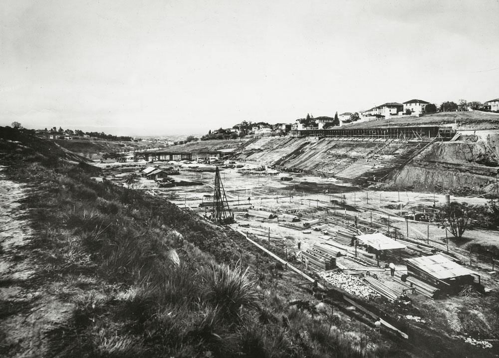 As obras no centro esportivo: inauguração ocorrida em 1940 (Foto: Divulgação)