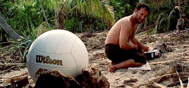 A bola Wilson e Tom Hanks em cena de Náufrago (2000)