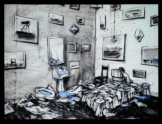 Felix no exílio (da série Desenhos para projeção), 1994, filme de animação em 35 mm transferido para vídeo [cor, som], 8:43 minutos, William Kentridge