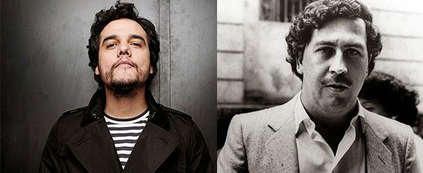 Wagner Moura, protagonista da série Narco, dirigida por José Padilha, sobre o traficante Pablo Escobar (á dir.)
