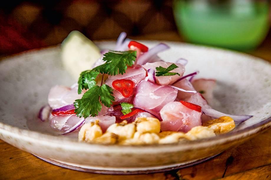 La Peruana Cevichería: com purê de batata-doce e milho