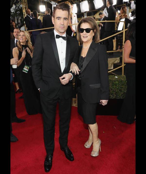O ator irlandês Colin Farrell, que concorria por O Lagosta, chegou com a mãe