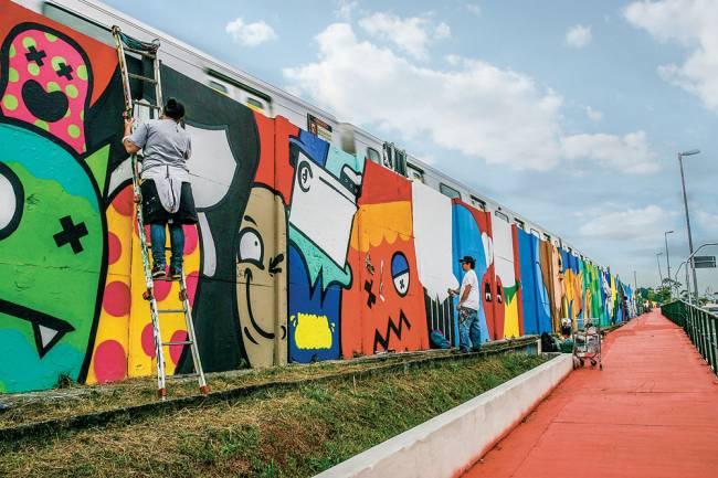 O mural de 4 quilômetros de grafites (Foto: Mario Rodrigues)