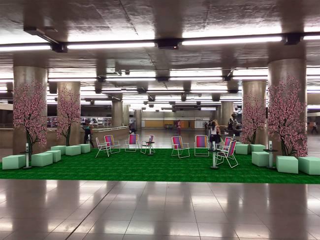 Inspirado nos parques paulistanos, um lounge será montado na Sé com banquetas e tomadas para carregar equipamentos eletrônicos