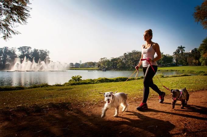 Catarina Areoso com seus cães, passeando no Parque do Ibirapuera.