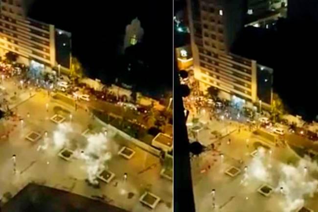 Bombas na Praça Roosevelt: usadas para dispersão dos folões (Foto: Bruno Niz)