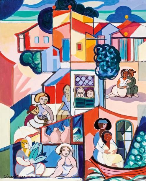 Cícero Dias: pintura sem título ao lado, feita na década de 70