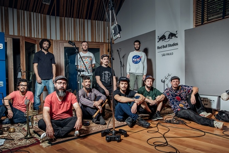 Orquestra Nomade pose for a portrait at Red Bull Station in Sao Paulo, Brazil on January 26, 2017