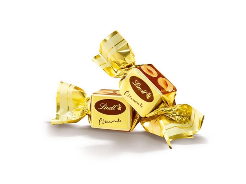 A linha Piemonte é feita de chocolate com gianduia e avelãs inteiras