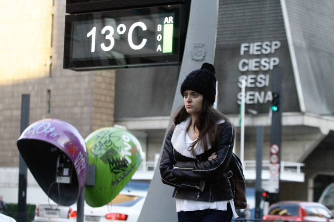 Frio na Avenida Paulista em SP