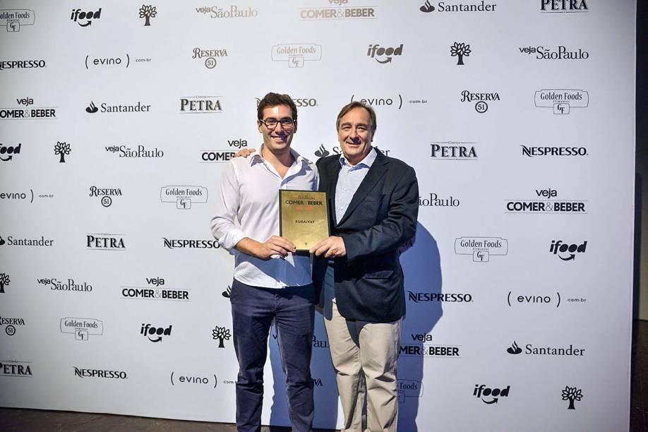 Diego e o pai, Belarmino Iglesias, do Rubaiyat: 16º prêmio pelas carnes