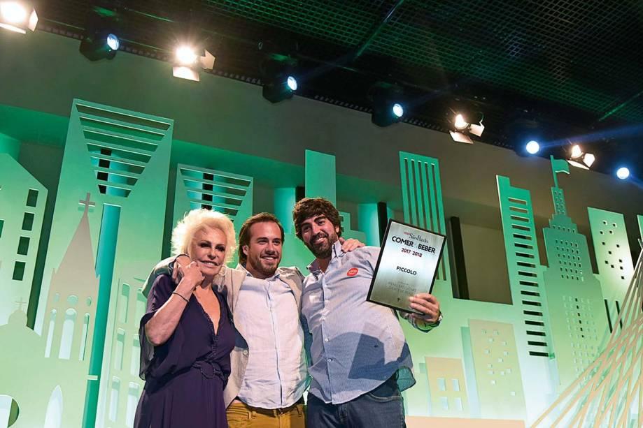 Ana Maria Braga com Marcelo Milani e Marcelo Laskani, do Piccolo: almoço executivo até 60 reais