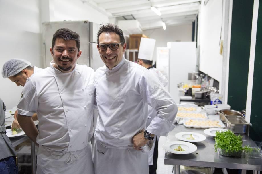 Luiz Emanuel Cerqueira de Lima (Bistrot Parigi), e Lucca Gozzani (Fasano): chefs comandaram jantar exclusivo com lugares esgotados