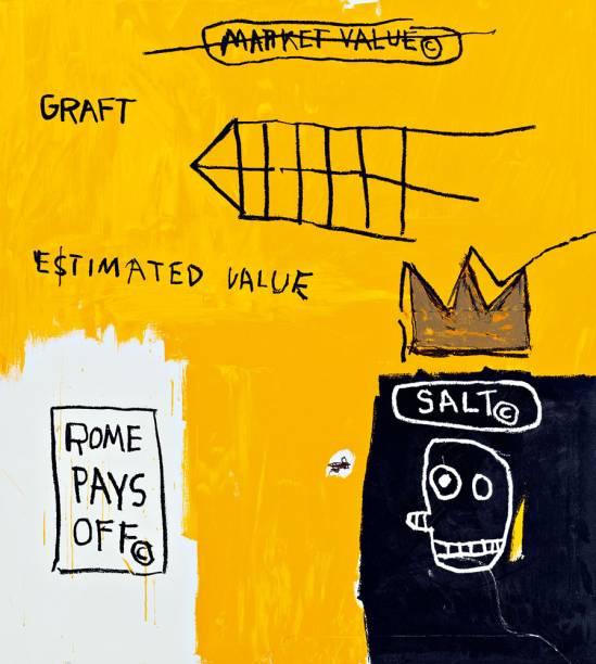 Rome Pays Off (à esq.), de 1984, de Jean-Michel Basquiat